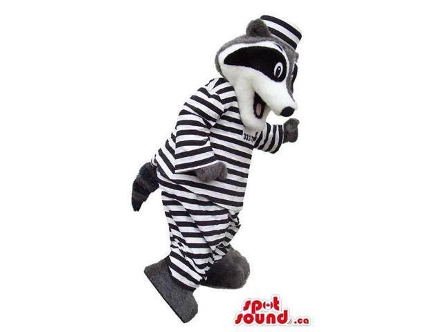 Cute Raccoon Plush Canadian SpotSound Mascot Dressed In Prisoner Gear