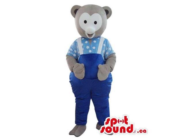 Grey Teddy Bear Plush Canadian SpotSound Mascot Dressed In Blue Overalls And Shirt