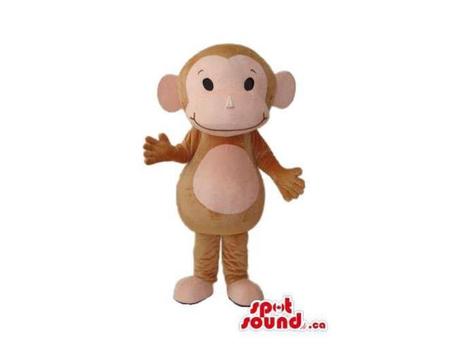 Brown Plush Monkey Canadian SpotSound Mascot With A Pink Belly And Face