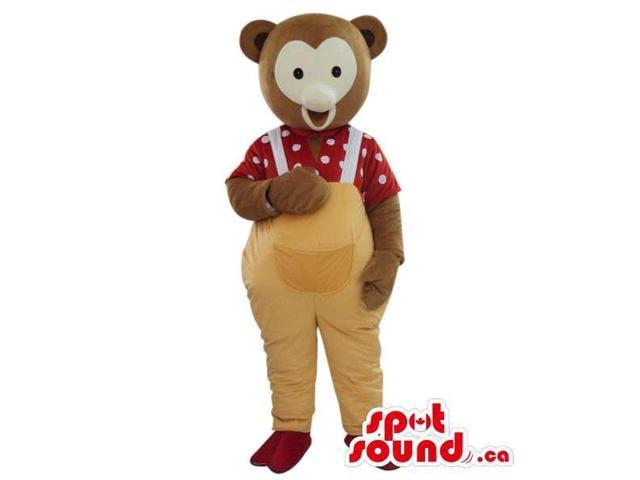 Grey Teddy Bear Plush Canadian SpotSound Mascot Dressed In Yellow Overalls And Shirt