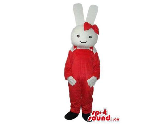 Miffy It Rabbit Cartoon Story Character Canadian SpotSound Mascot With Red Gear