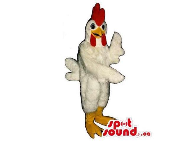Customised White Hen Canadian SpotSound Mascot With A Red Comb And Yellow Legs
