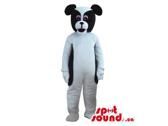 Cute White And Black Dog Plush Animal Canadian SpotSound Mascot With Round Ears
