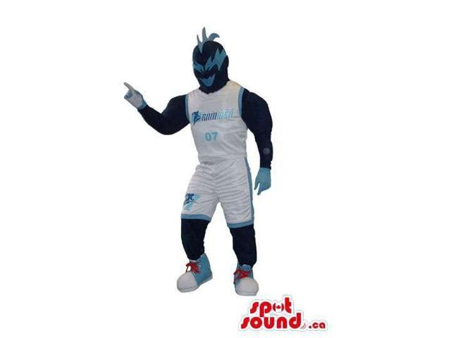 Masked Fighter Character Canadian SpotSound Mascot In Basketball Gear With Logo