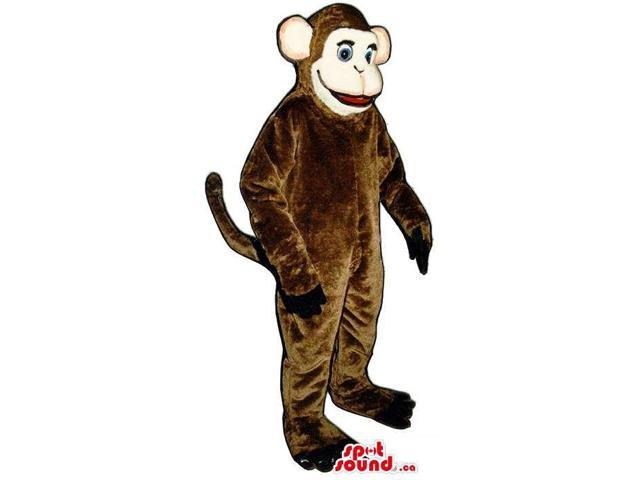 Brown Monkey Plush Canadian SpotSound Mascot With A Beige Face And Ears