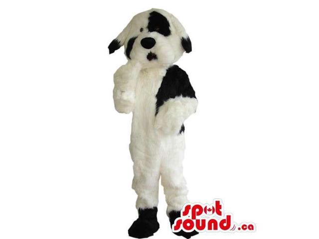 Cute White And Black Woolly Dog Plush Animal Canadian SpotSound Mascot