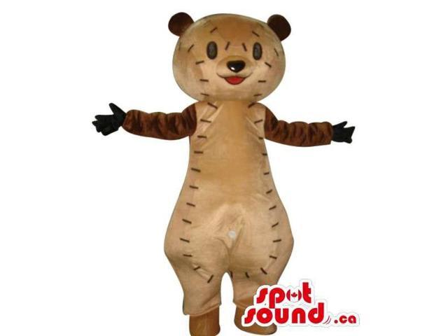 Cute Brown Teddy Bear Toy Plush Canadian SpotSound Mascot With Stitches