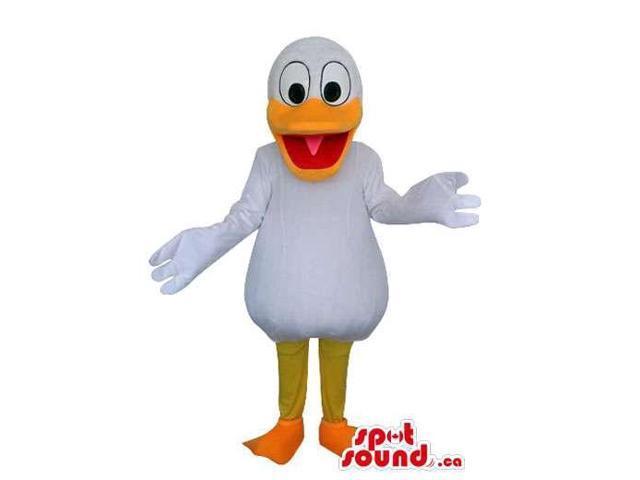 Cute Cartoon White Duck Plush Canadian SpotSound Mascot With A Large Orange Beak