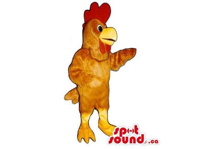 Customised Brown Hen Canadian SpotSound Mascot With A Red Comb And Yellow Legs