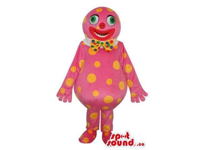 Pink Clown Creature Plush Canadian SpotSound Mascot With Yellow Dots