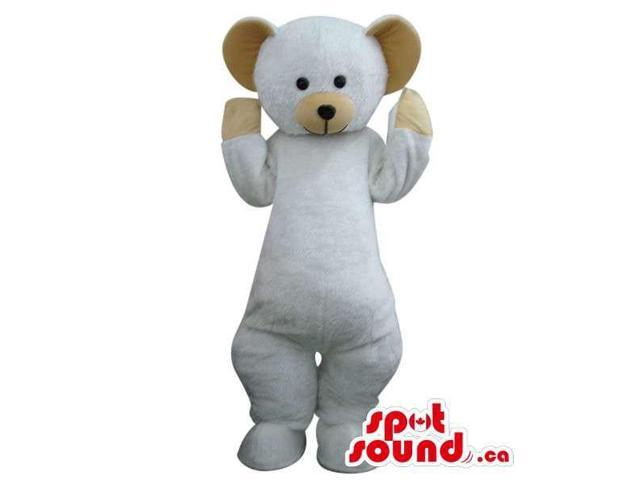 Cute White Teddy Bear Toy Plush Canadian SpotSound Mascot With Brown Ears