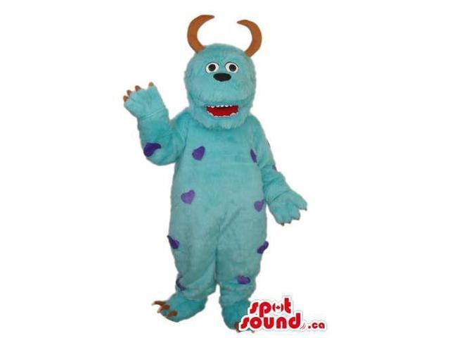 Blue Large Monster Plush Canadian SpotSound Mascot With Purple Spots And Curled Horns