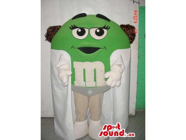 Green M&M'S Chocolate Snack Well-Known Canadian SpotSound Mascot With White Cape