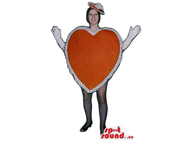 Large Red And White Heart Adult Size Costume Or Canadian SpotSound Mascot