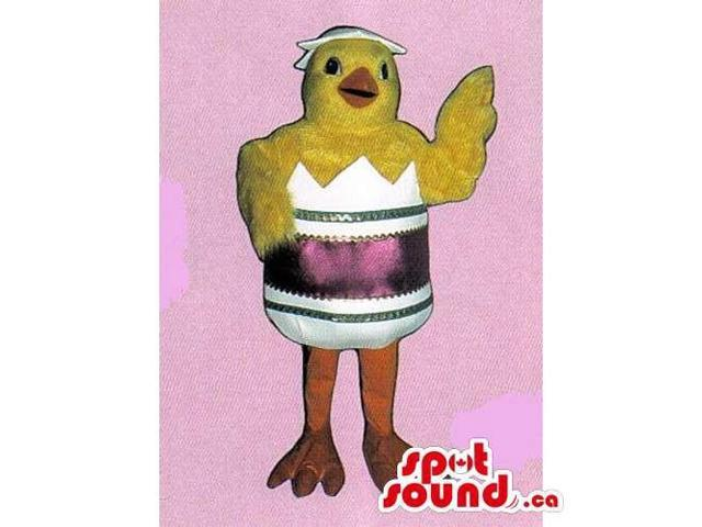 Customised Yellow Cute Chicken Canadian SpotSound Mascot In Hatching Egg