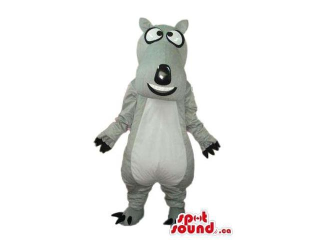 Cartoon Grey Dog Plush Canadian SpotSound Mascot With Peculiar Eyes And White Belly