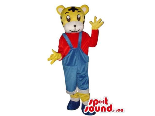 Cute Yellow Tiger Plush Canadian SpotSound Mascot Dressed In Overalls And Red Shirt