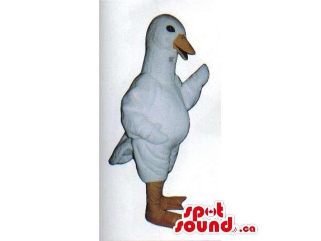 All White And Customised Goose Farm Bird Canadian SpotSound Mascot