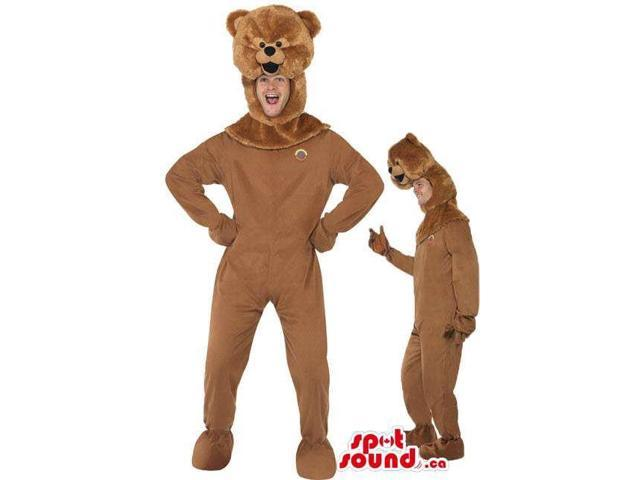 Cute All Brown Teddy Bear Plush Adult Size Costume