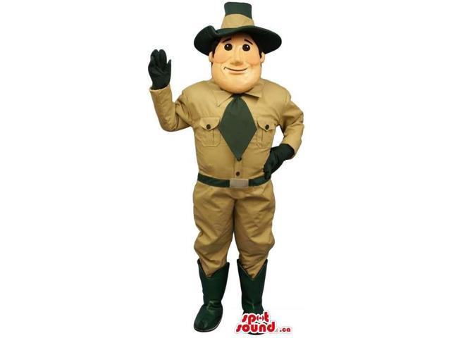 Great Park Guard Human Canadian SpotSound Mascot Dressed In A Tie And A Hat