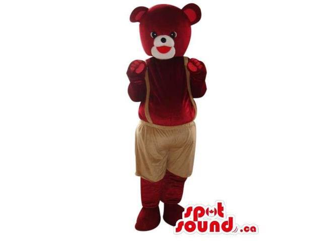 Dark Brown Teddy Bear Plush Canadian SpotSound Mascot Dressed In Brown Pants