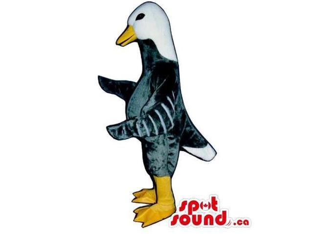 Grey Customised Duck Farm Bird Canadian SpotSound Mascot With White Head