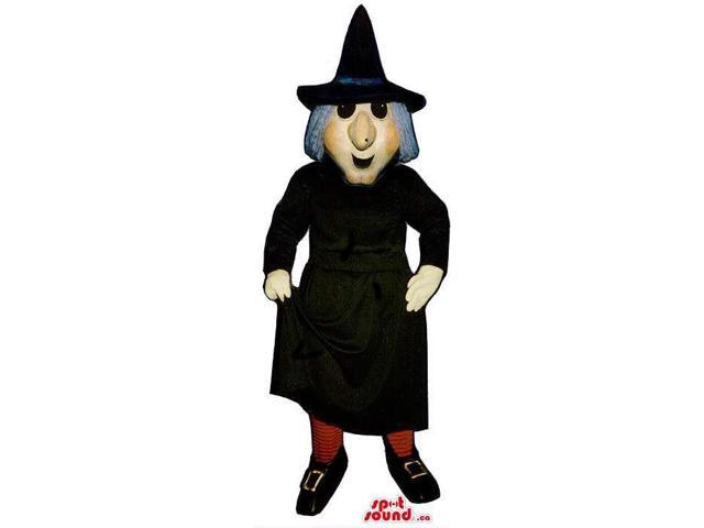 Halloween Witch Canadian SpotSound Mascot With A Black Long Dress And Grey Hair