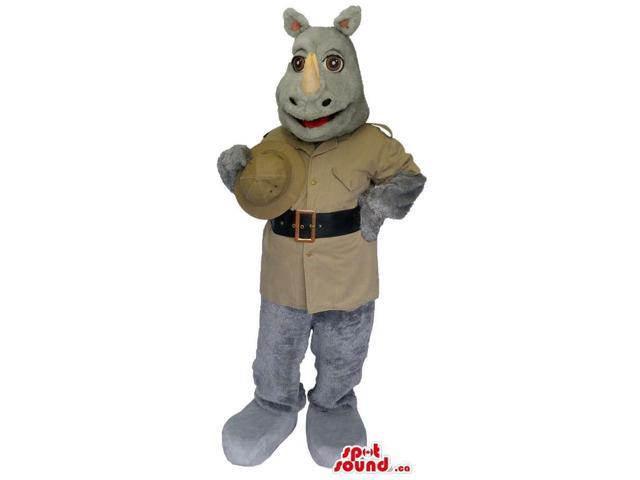 Grey Rhinoceros Canadian SpotSound Mascot Dressed In Safari Beige Gear And A Hat