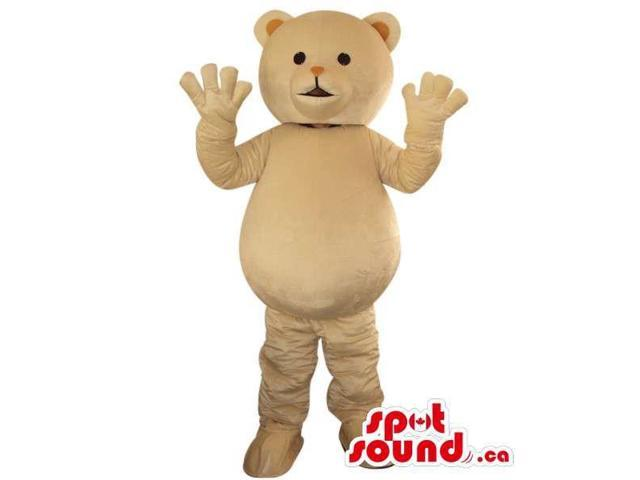 Cute White Teddy Bear Toy Plush Canadian SpotSound Mascot With Round Belly