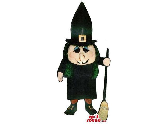 Halloween Witch Canadian SpotSound Mascot With A Black Long Hat And A Broom