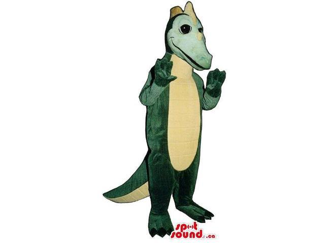 Green Dragon Plush Canadian SpotSound Mascot With Yellow Spikes And Belly