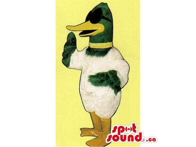 Customised White And Green Duck Canadian SpotSound Mascot Dressed In Sun Glasses
