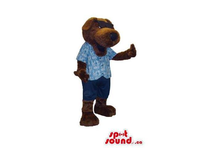 Cute Dark Brown Dog Plush Canadian SpotSound Mascot Dressed In Blue Clothes