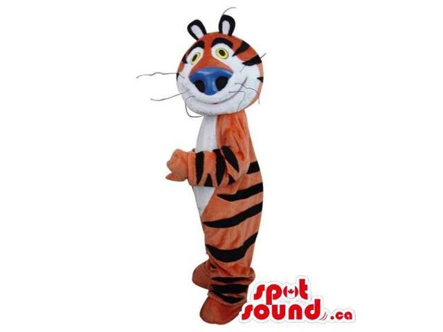 Cute Orange And White Tiger Plush Canadian SpotSound Mascot With A Blue Nose