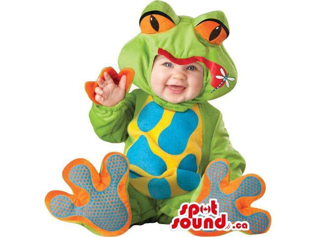 Very Cute Green And Orange Frog Toddler Size Plush Costume