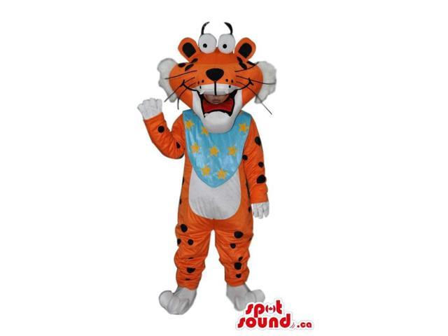 Cute Orange Tiger Plush Canadian SpotSound Mascot With A Blue Neck Scarf