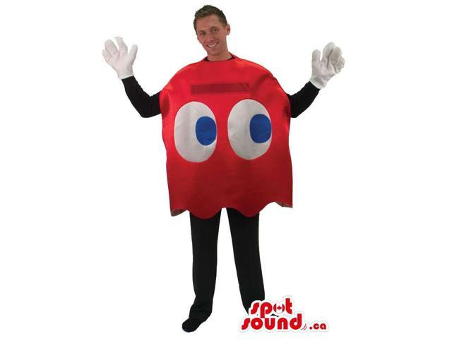 Cool Red Pac Man Ghost Video Game Character Adult Size Costume