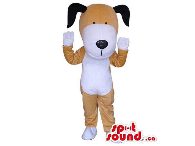 Cute White And Brown Dog Plush Canadian SpotSound Mascot With Black Ears