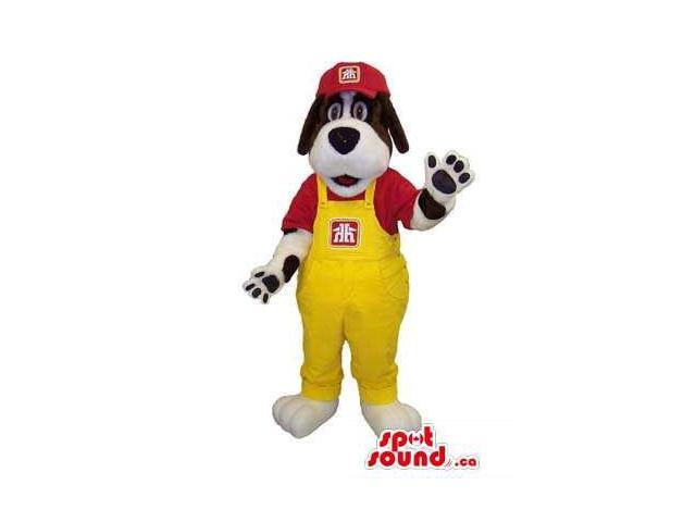 White And Brown Dog Plush Canadian SpotSound Mascot Dressed In Yellow Overalls