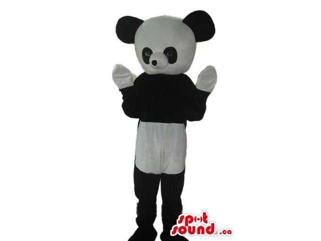 Cute Panda Bear Plush Canadian SpotSound Mascot With Large Round Head And White Paws