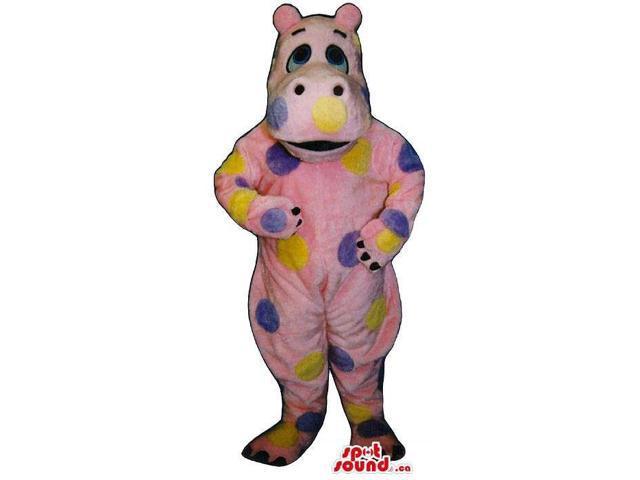 Cute Pink Hippopotamus Plush Canadian SpotSound Mascot With Color Dots