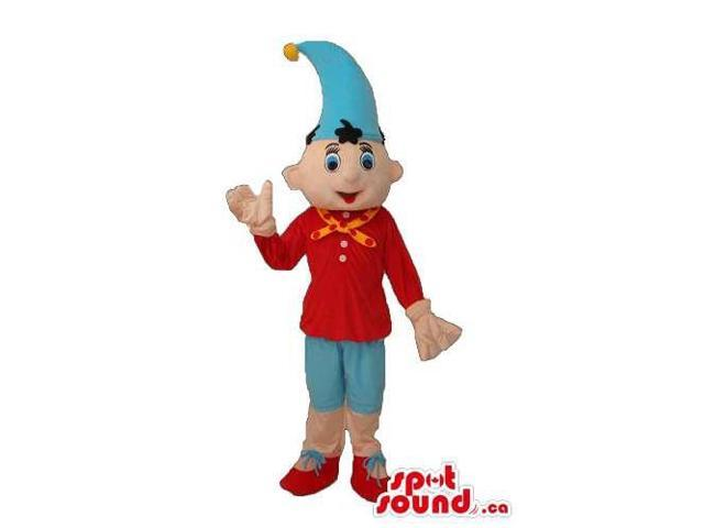 Cute Dwarf Canadian SpotSound Mascot Dressed In Red And Blue Gear And A Hat