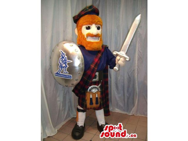 Scottish Warrior Plush Canadian SpotSound Mascot With A Sword And A Shield
