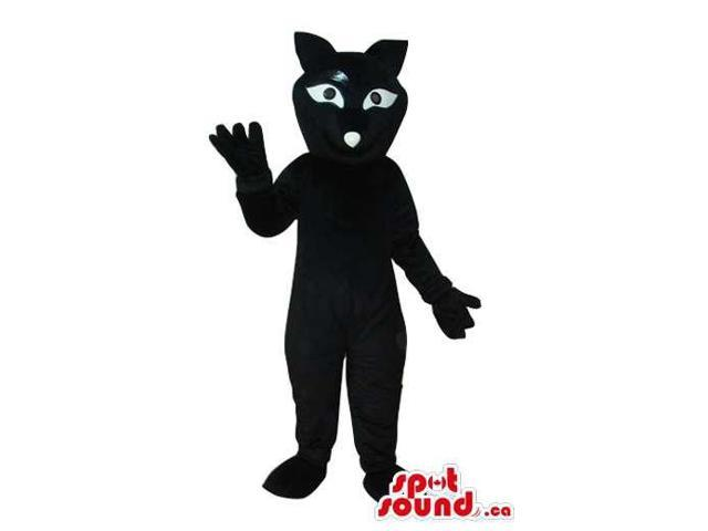 Oriental Black Cat Canadian SpotSound Mascot With A Long Eyes And A Dot