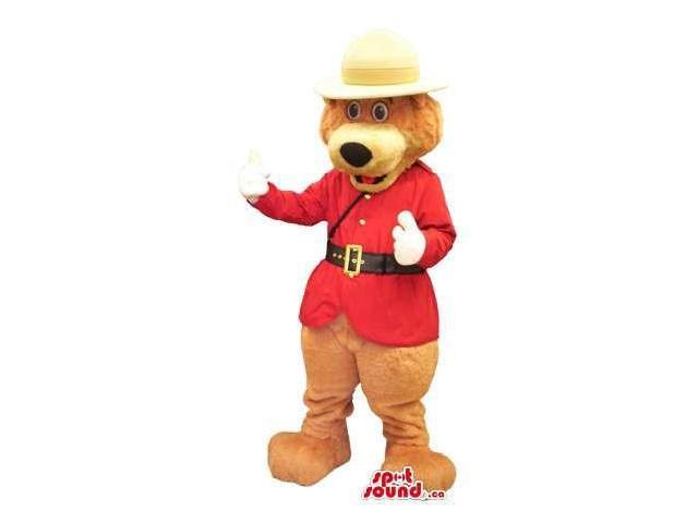 Brown Bear Plush Canadian SpotSound Mascot Dressed In A Red Guard Jacket And Hat
