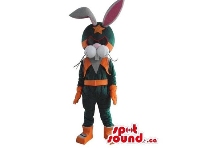 White Bunny Plush Canadian SpotSound Mascot Dressed In Orange And Green Hero Clothes