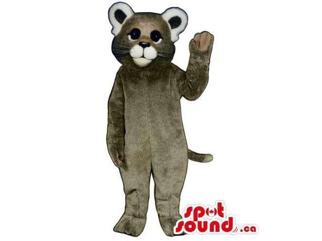 Customised All Grey Cat Animal Canadian SpotSound Mascot With Round Ears