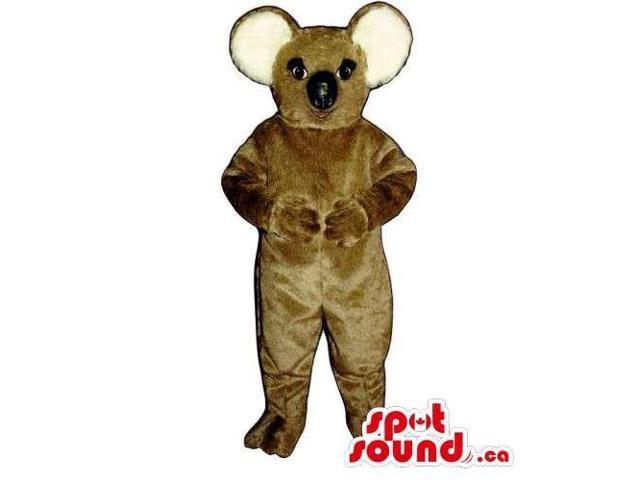 Customised All Brown Koala Animal Canadian SpotSound Mascot With Round Ears
