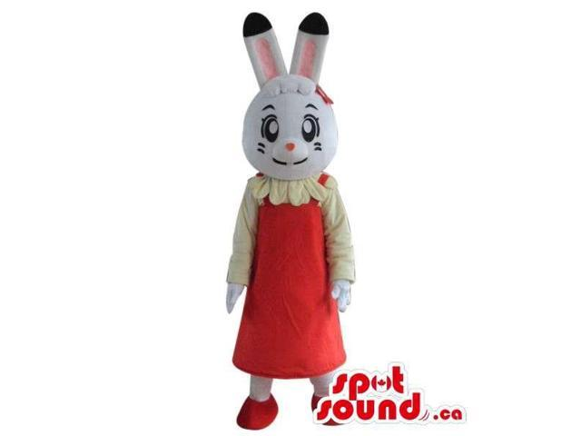 Cartoon White Girl Bunny Plush Canadian SpotSound Mascot Dressed In A Red Dress