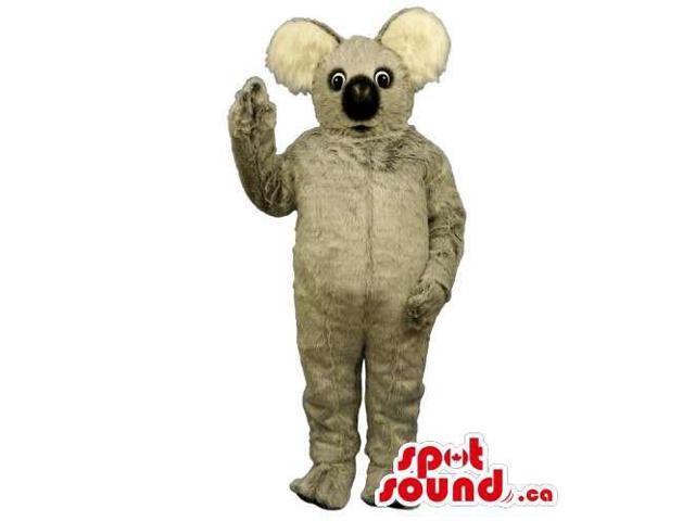 Customised All Grey Koala Animal Canadian SpotSound Mascot With Round Ears